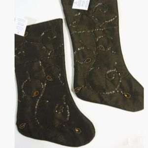 Christmas Stockings Brown Beaded Bundle of 2